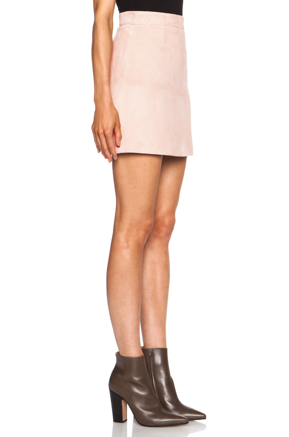 dsquared olympia suede leather skirt in pink fwrd