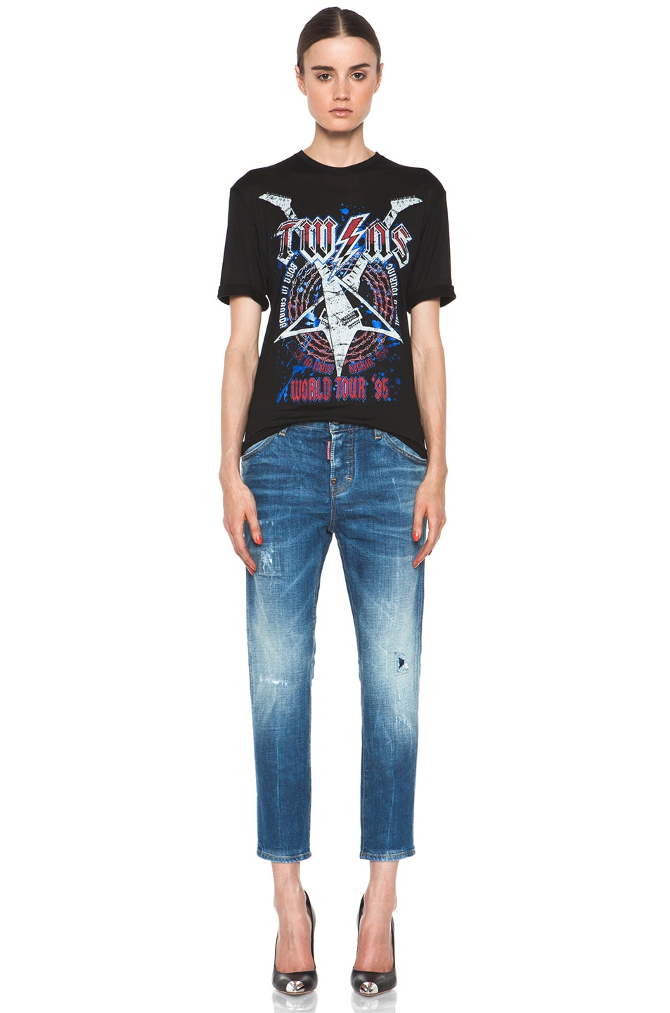 Image 6 of DSQUARED Twins Rock Tee in Black