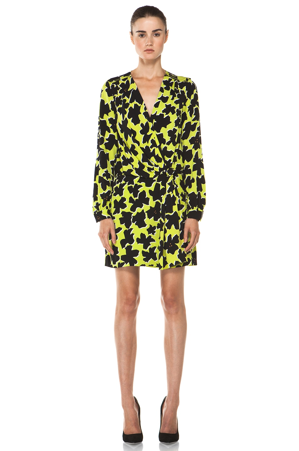 Image 1 of Diane von Furstenberg Dora Lily Crepe Dress in Dove Bloom Acid Lime