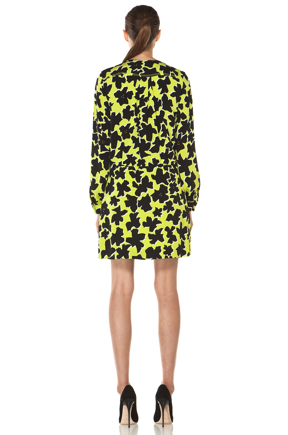 Image 4 of Diane von Furstenberg Dora Lily Crepe Dress in Dove Bloom Acid Lime