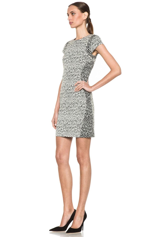 Image 2 of Diane von Furstenberg Pele Snake Wave Jacquard Dress in Cream & Black