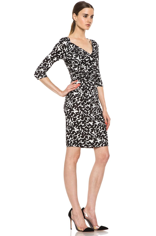 Image 3 of Diane von Furstenberg Bentley SJ Three Quarters Dress in Geo Marks Black