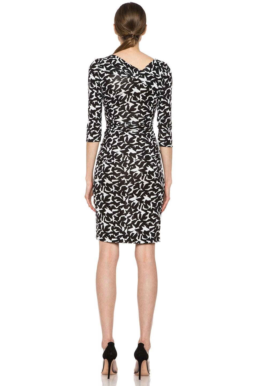 Image 4 of Diane von Furstenberg Bentley SJ Three Quarters Dress in Geo Marks Black