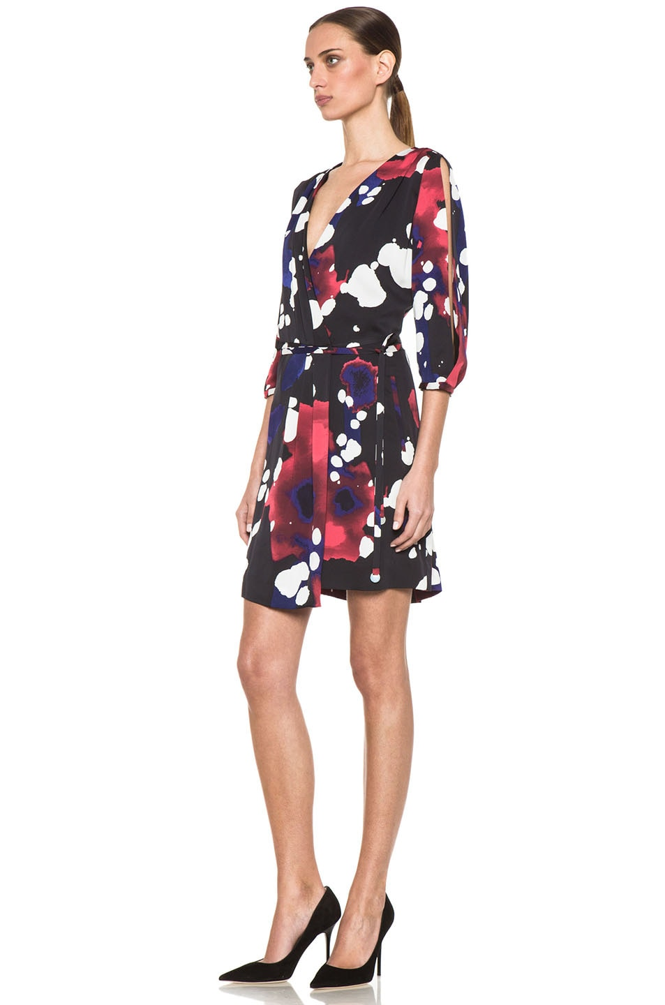 Image 2 of Diane von Furstenberg Autumn Dress in Explosion of Color Black