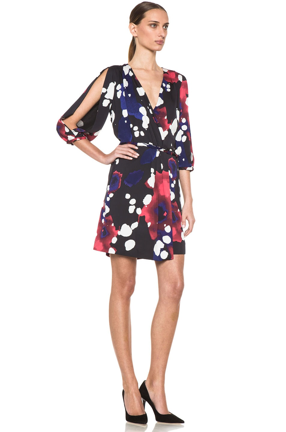 Image 3 of Diane von Furstenberg Autumn Dress in Explosion of Color Black