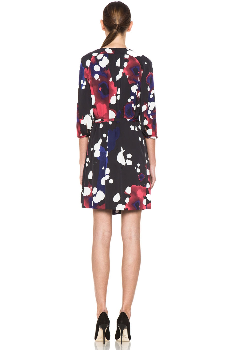 Image 4 of Diane von Furstenberg Autumn Dress in Explosion of Color Black