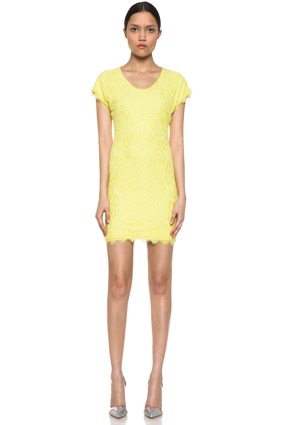 Image 1 of Diane von Furstenberg Wanda Lace Knit Mini in Limoncello
