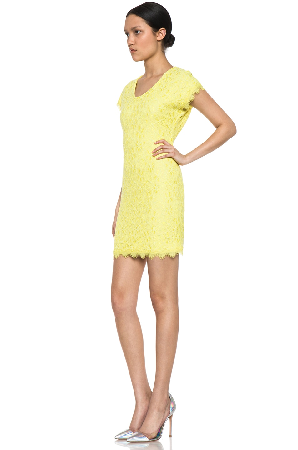 Image 2 of Diane von Furstenberg Wanda Lace Knit Mini in Limoncello