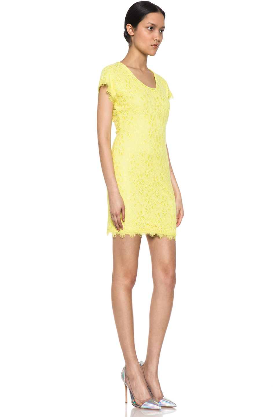 Image 3 of Diane von Furstenberg Wanda Lace Knit Mini in Limoncello