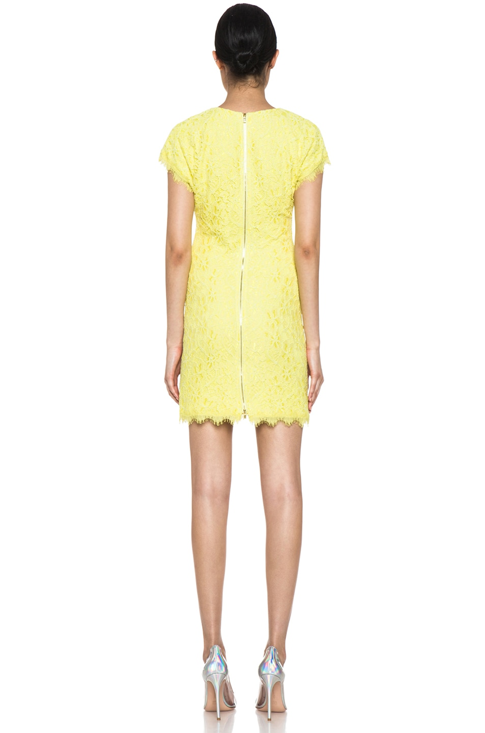 Image 4 of Diane von Furstenberg Wanda Lace Knit Mini in Limoncello