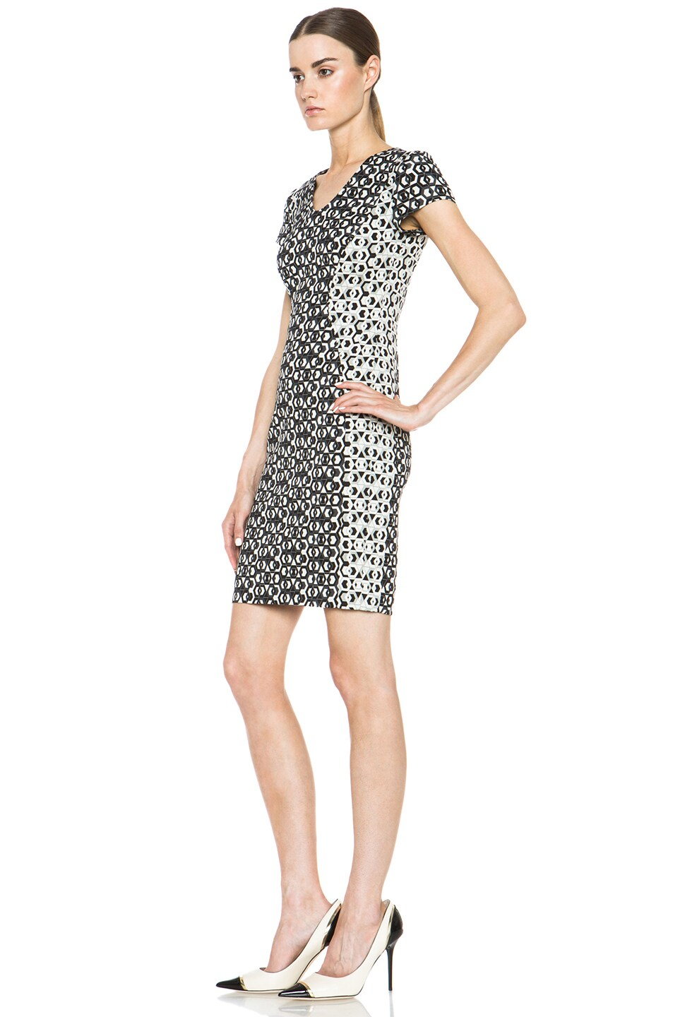 Image 2 of Diane von Furstenberg Dayton Hex Maze Jacquard Dress in Black & White