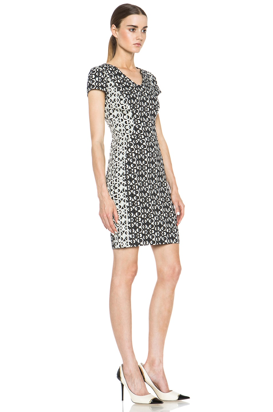 Image 3 of Diane von Furstenberg Dayton Hex Maze Jacquard Dress in Black & White