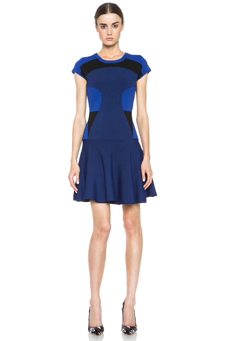 Image 1 of Diane von Furstenberg Renee Dress in Vivid Blue & Black