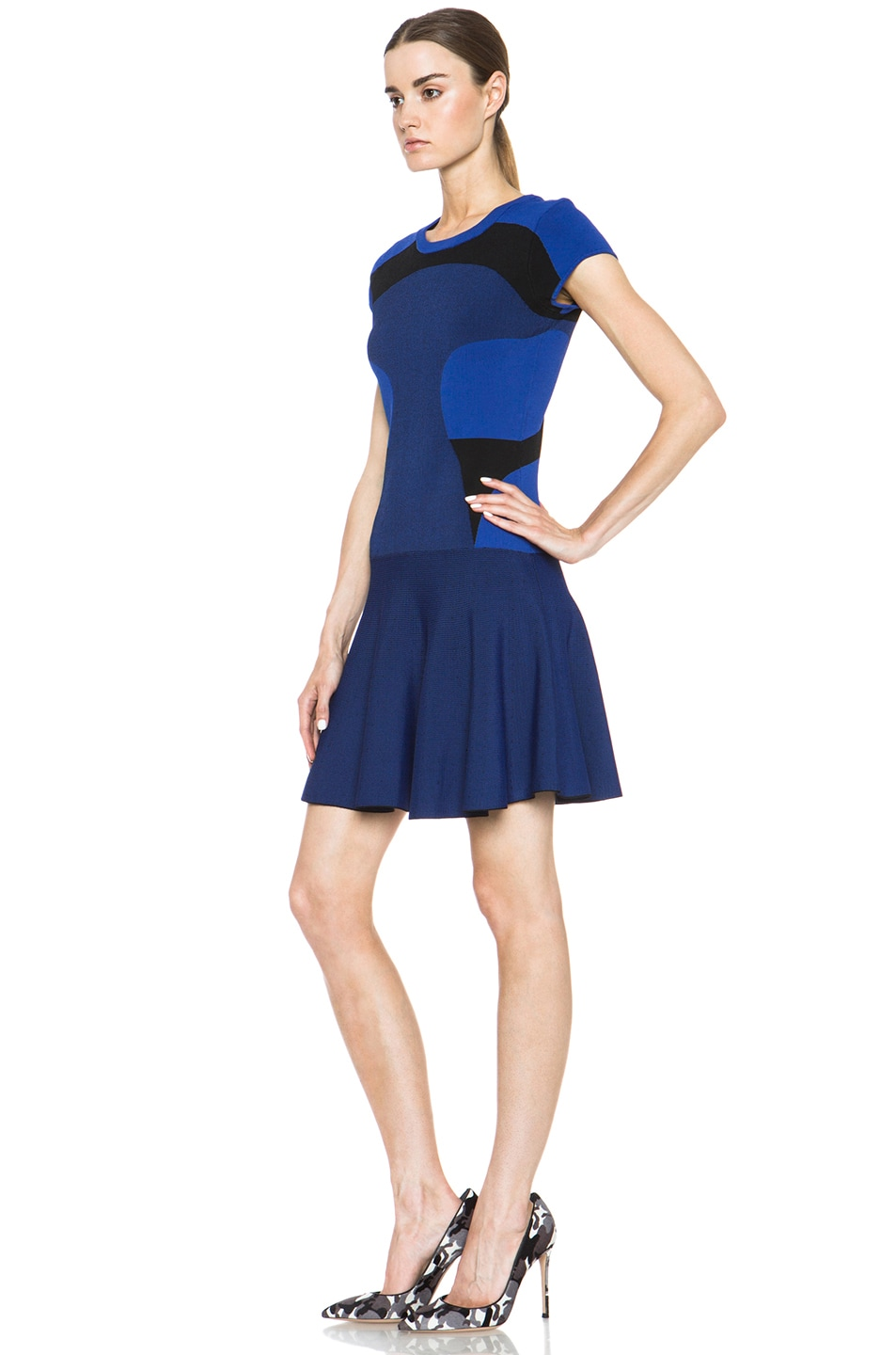 Image 2 of Diane von Furstenberg Renee Dress in Vivid Blue & Black
