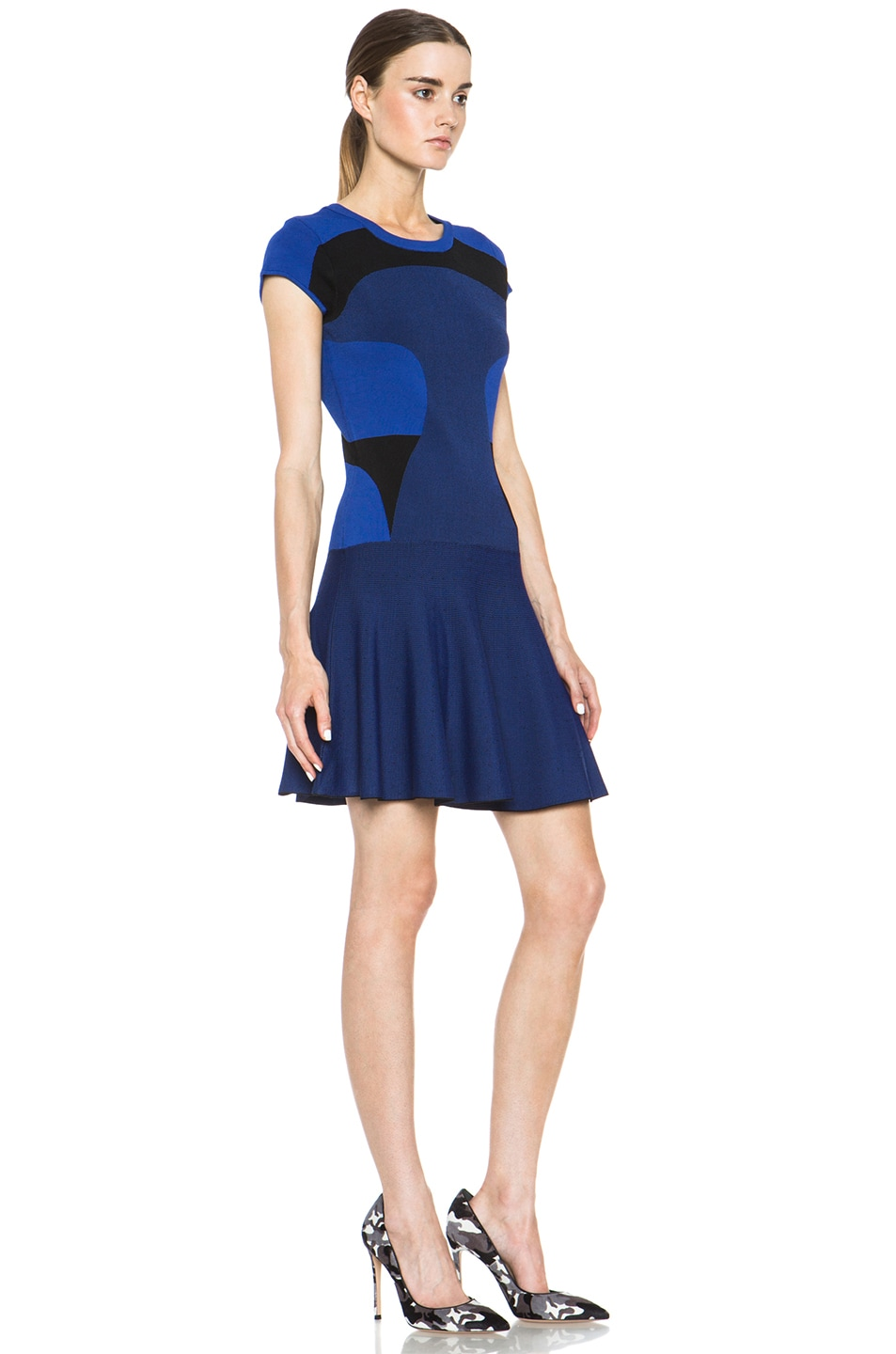 Image 3 of Diane von Furstenberg Renee Dress in Vivid Blue & Black