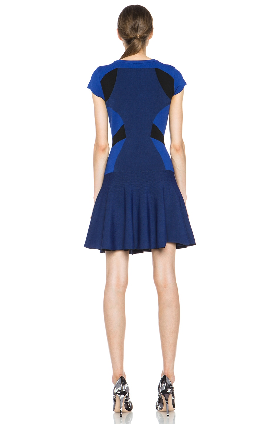 Image 4 of Diane von Furstenberg Renee Dress in Vivid Blue & Black