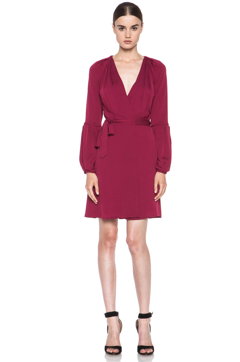 Image 1 of Diane von Furstenberg Weslee Silk Dress in Dark Cherry