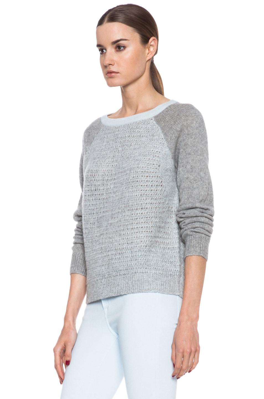 Image 2 of Diane von Furstenberg Nanette Cotton Sweater in Sea Mist & Heather Grey