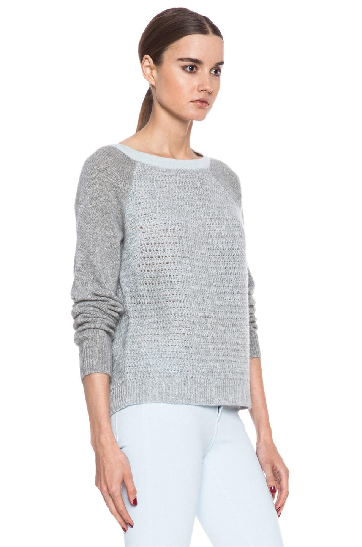 Image 3 of Diane von Furstenberg Nanette Cotton Sweater in Sea Mist & Heather Grey