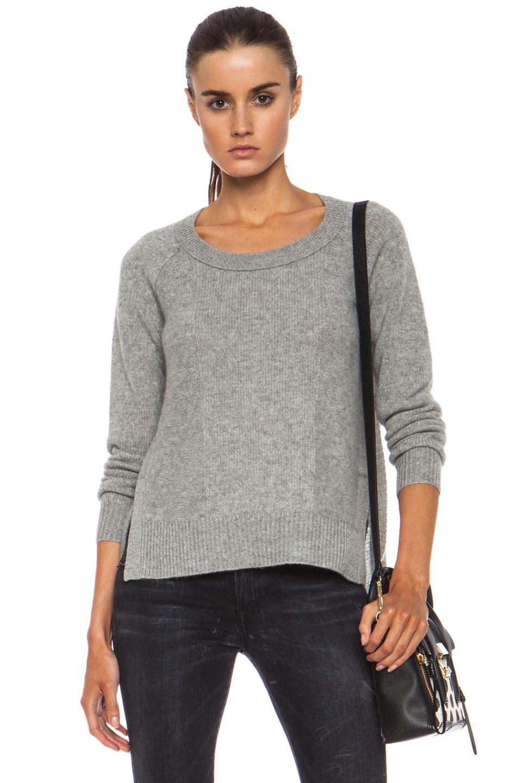 Image 1 of Diane von Furstenberg Ivory Cashmere Sweater in Heather Grey