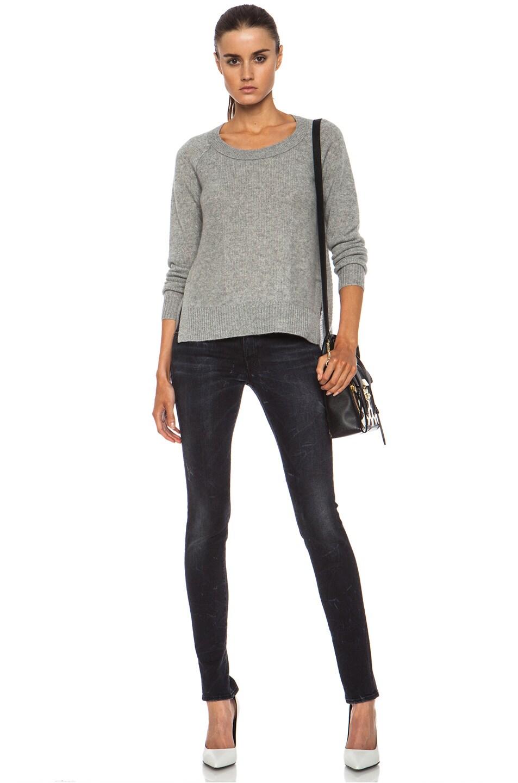 Image 5 of Diane von Furstenberg Ivory Cashmere Sweater in Heather Grey