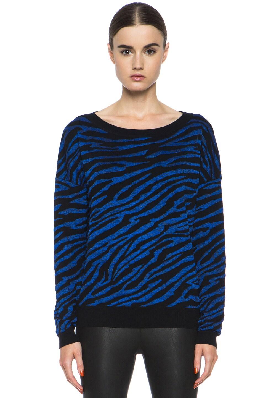 Image 1 of Diane von Furstenberg Estelle Sweater in Black & Tanzanite Blue
