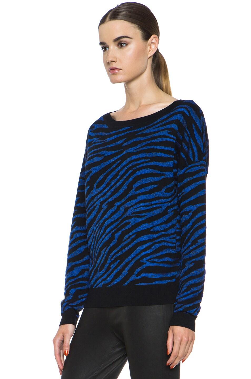Image 2 of Diane von Furstenberg Estelle Sweater in Black & Tanzanite Blue