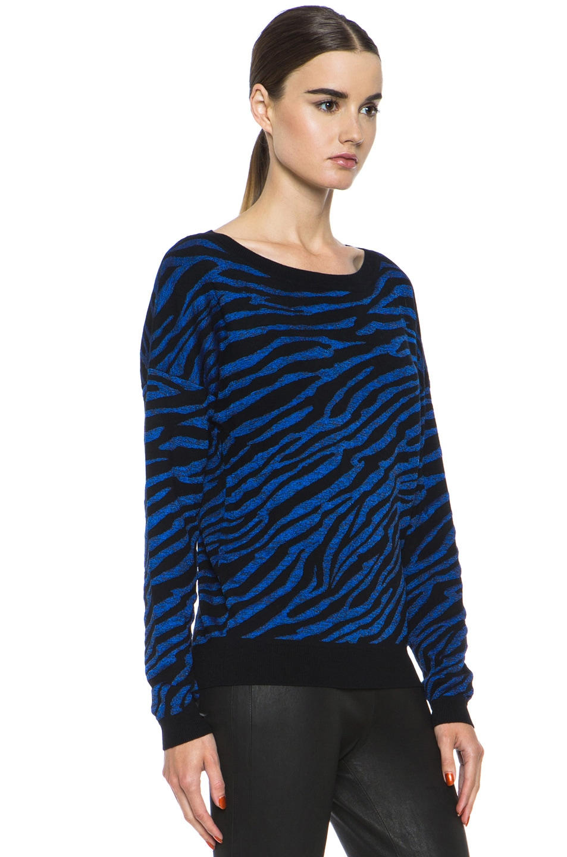 Image 3 of Diane von Furstenberg Estelle Sweater in Black & Tanzanite Blue