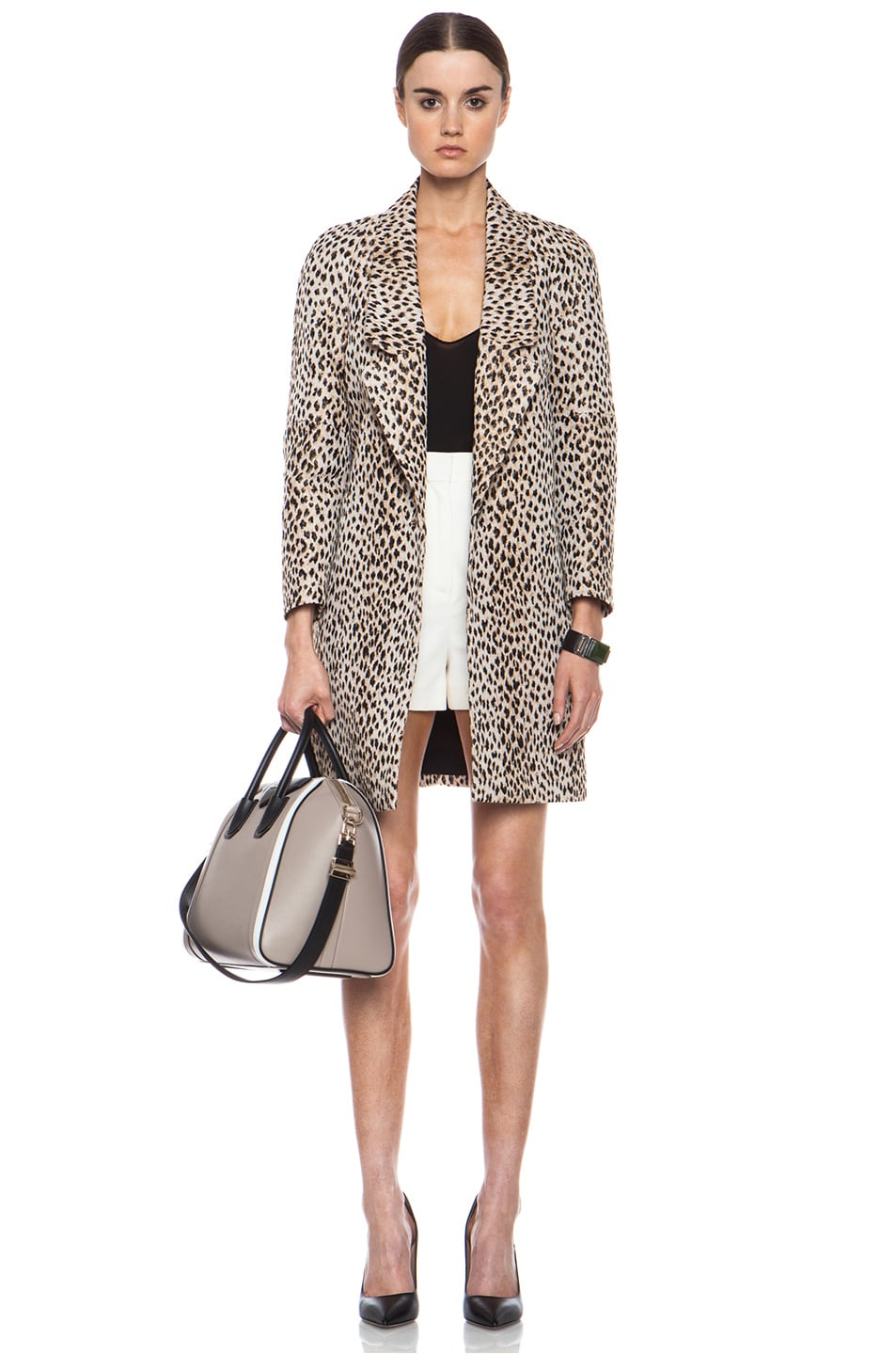 Image 1 of Diane von Furstenberg Britta Poly-Blend Coat in Caramel, New Pearl, & Black