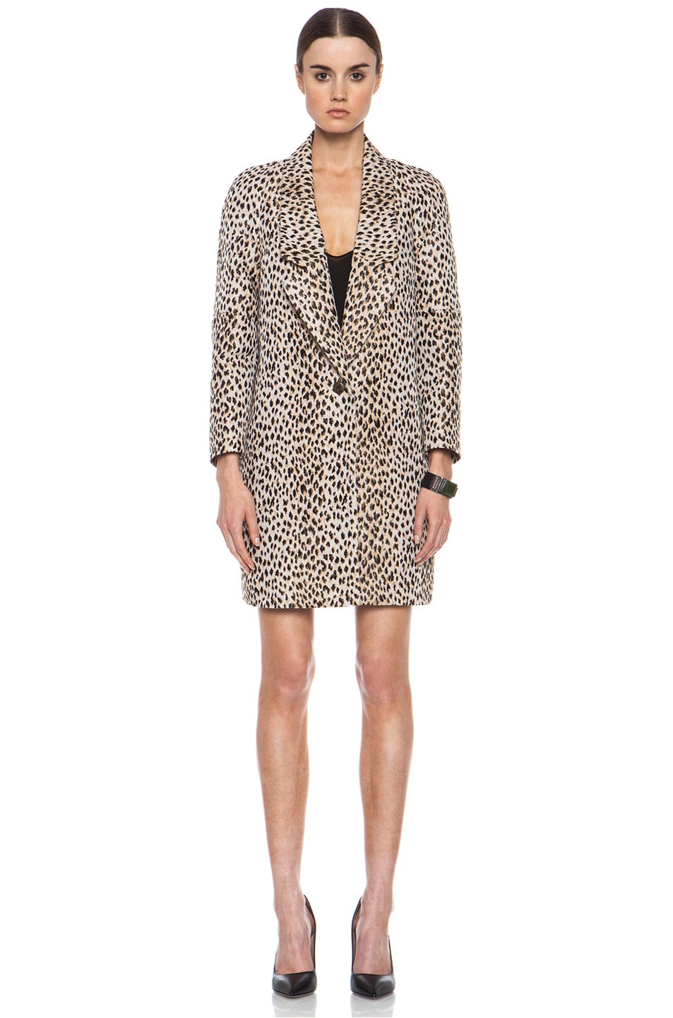 Image 2 of Diane von Furstenberg Britta Poly-Blend Coat in Caramel, New Pearl, & Black