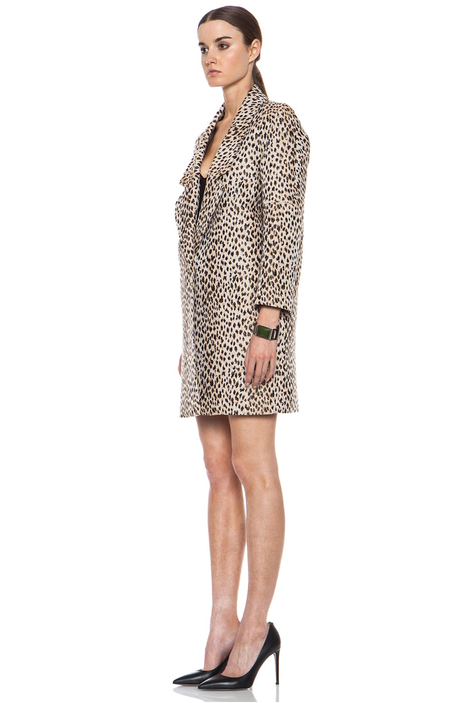 Image 3 of Diane von Furstenberg Britta Poly-Blend Coat in Caramel, New Pearl, & Black