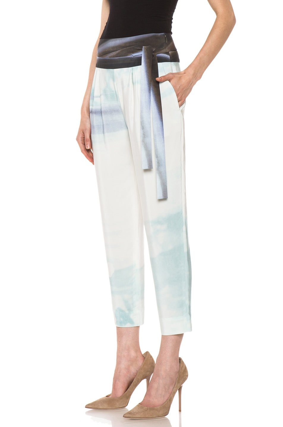 Image 2 of Diane von Furstenberg Keaka Silk Pants in Ethereal