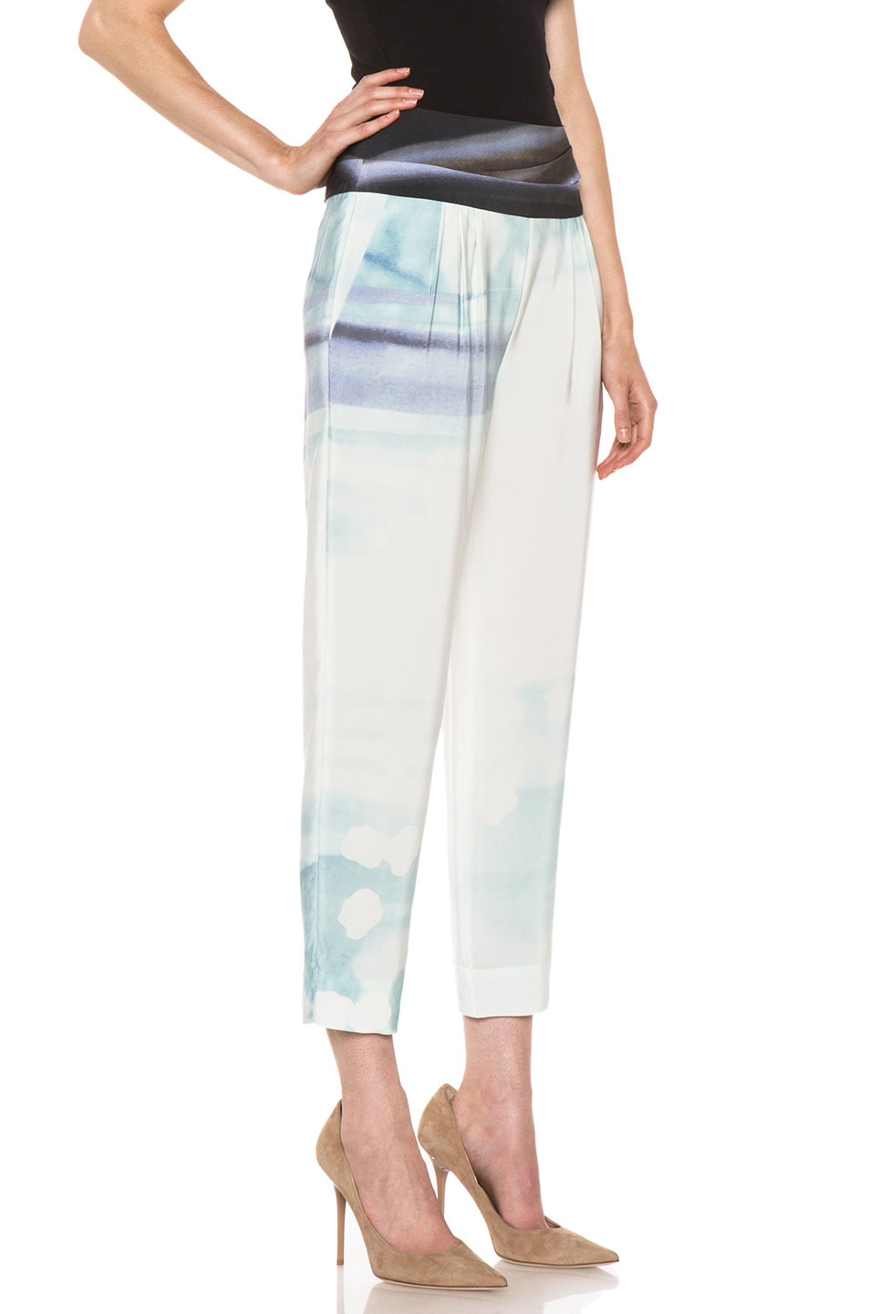 Image 3 of Diane von Furstenberg Keaka Silk Pants in Ethereal