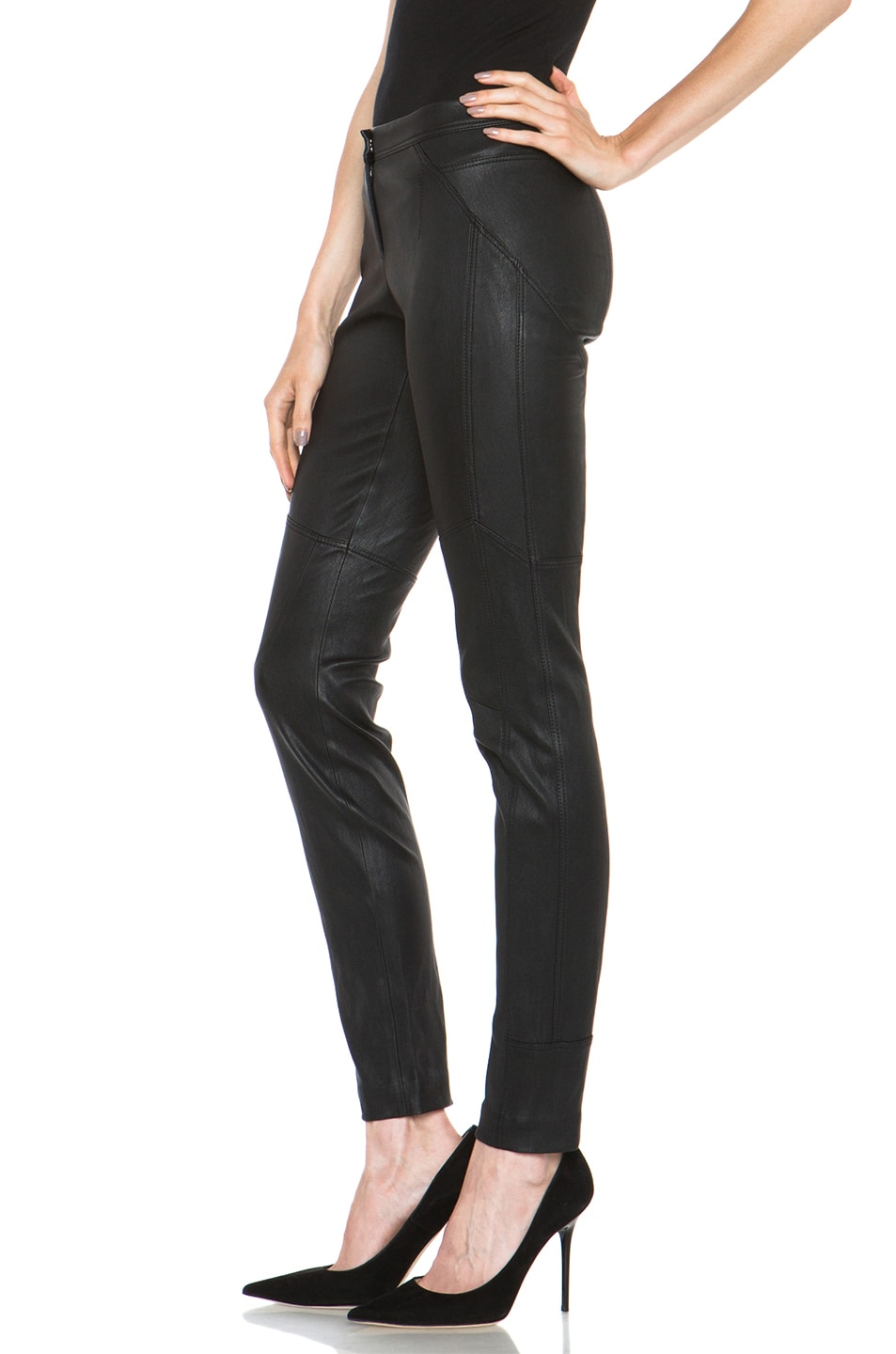 Image 2 of Diane von Furstenberg Liberty Leather Pant in Black