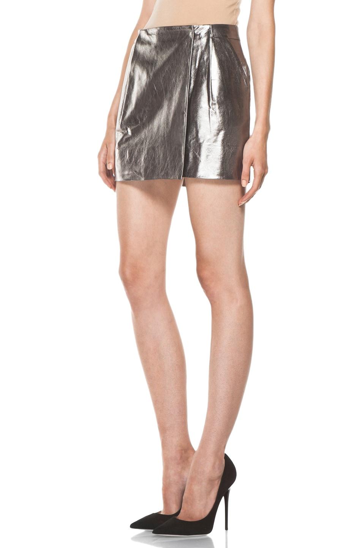 Image 2 of Diane von Furstenberg Melissa Metallic Leather Skirt in Silver