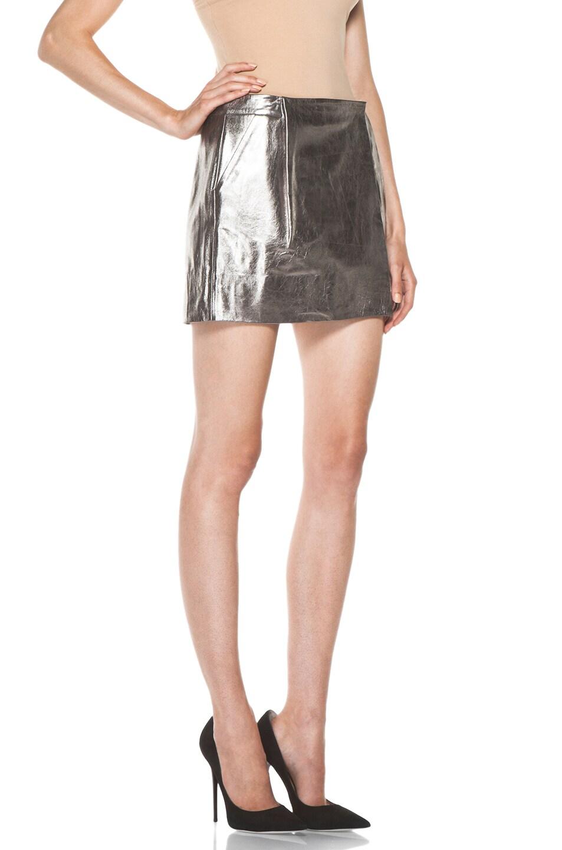 Image 3 of Diane von Furstenberg Melissa Metallic Leather Skirt in Silver
