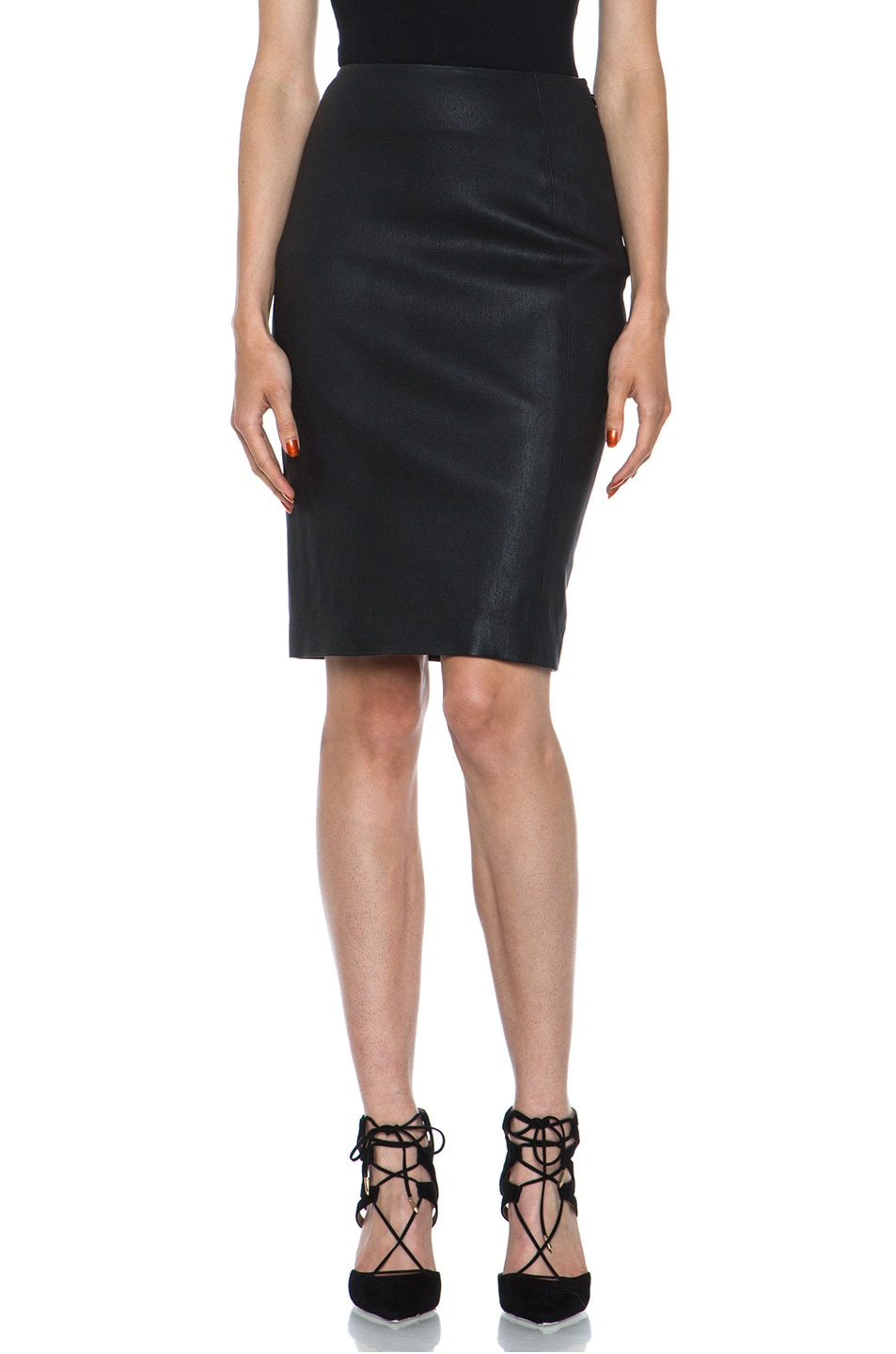 Image 1 of Diane von Furstenberg Panel Marta Stretch Calfskin Skirt in Black