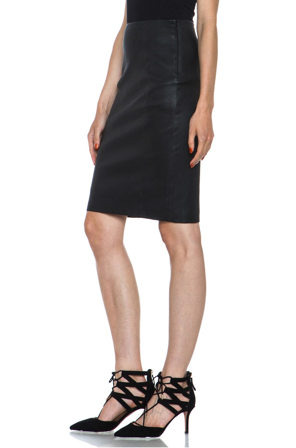 Image 2 of Diane von Furstenberg Panel Marta Stretch Calfskin Skirt in Black