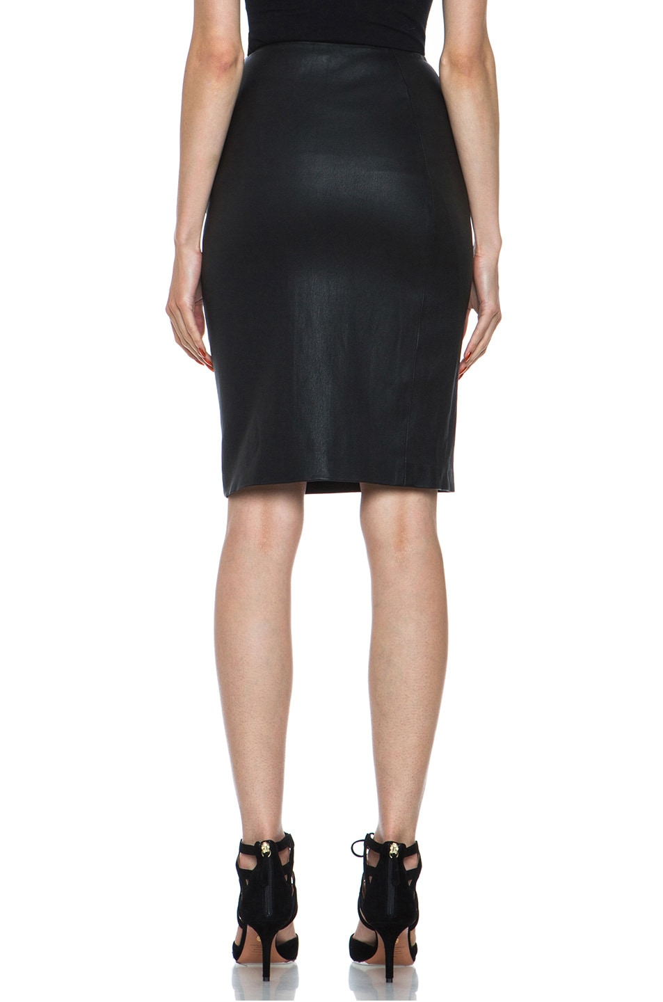 Image 4 of Diane von Furstenberg Panel Marta Stretch Calfskin Skirt in Black