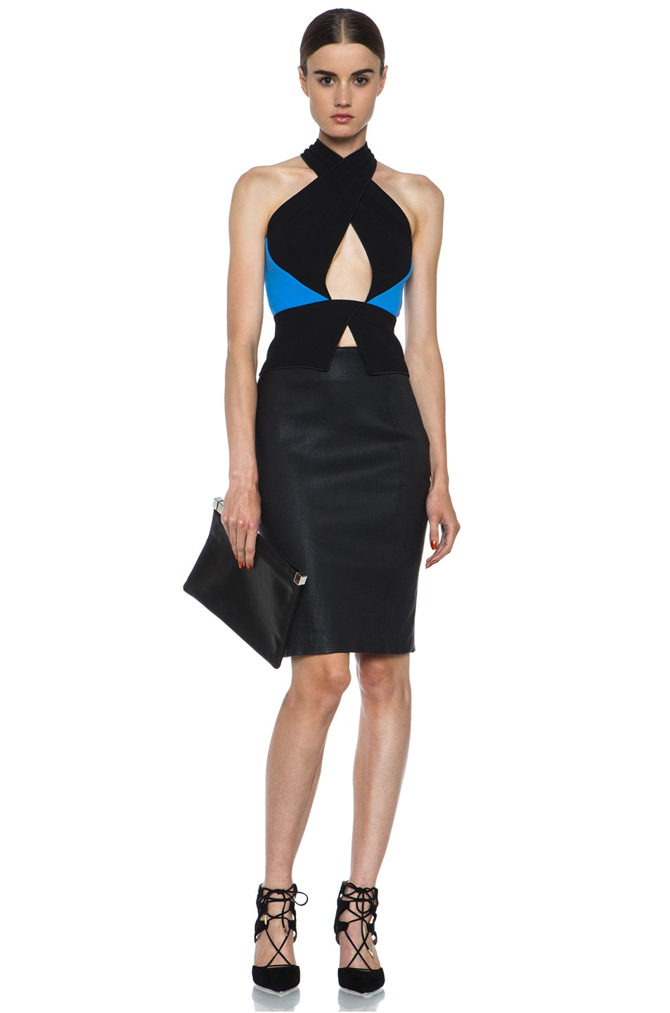 Image 5 of Diane von Furstenberg Panel Marta Stretch Calfskin Skirt in Black