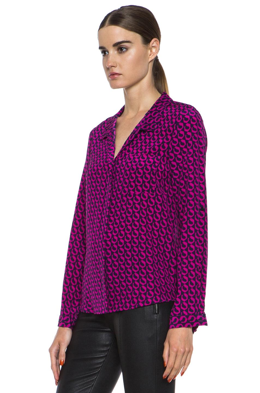 Image 2 of Diane von Furstenberg Lorelei Print Silk Shirt in Leo Chain Mink Pink