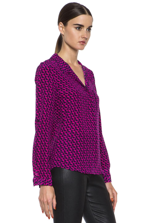 Image 3 of Diane von Furstenberg Lorelei Print Silk Shirt in Leo Chain Mink Pink
