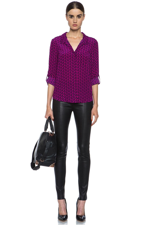 Image 5 of Diane von Furstenberg Lorelei Print Silk Shirt in Leo Chain Mink Pink