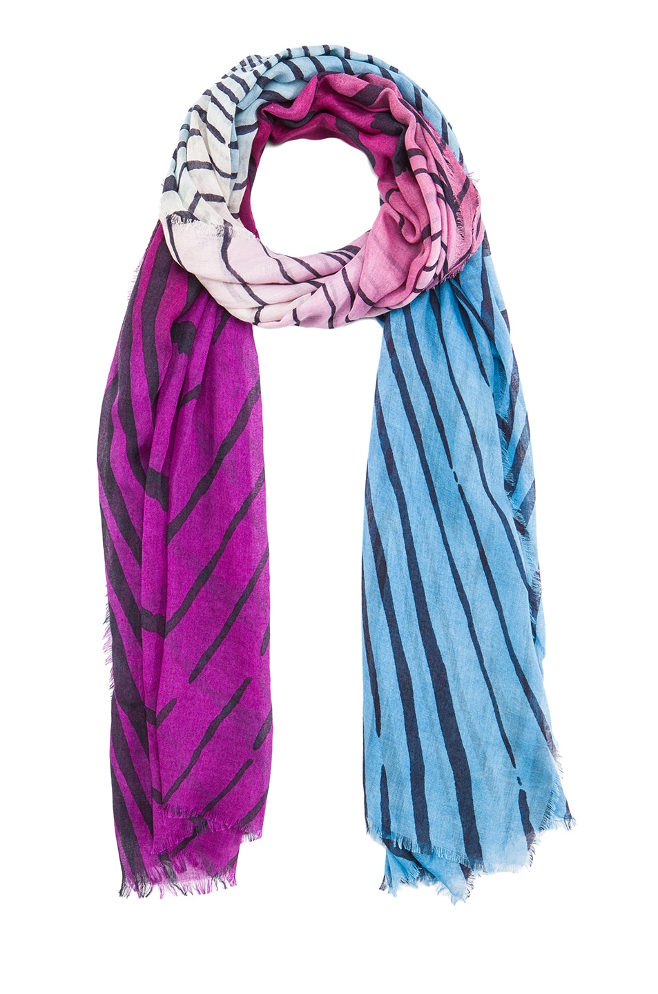 Image 2 of Diane von Furstenberg Hanovar Silk & Wool Scarf in Tiger Tree Gradient Purple