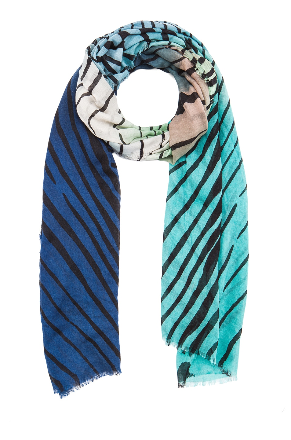 Image 2 of Diane von Furstenberg Hanovar Silk & Wool Scarf in Tiger Tree Gradient Teal