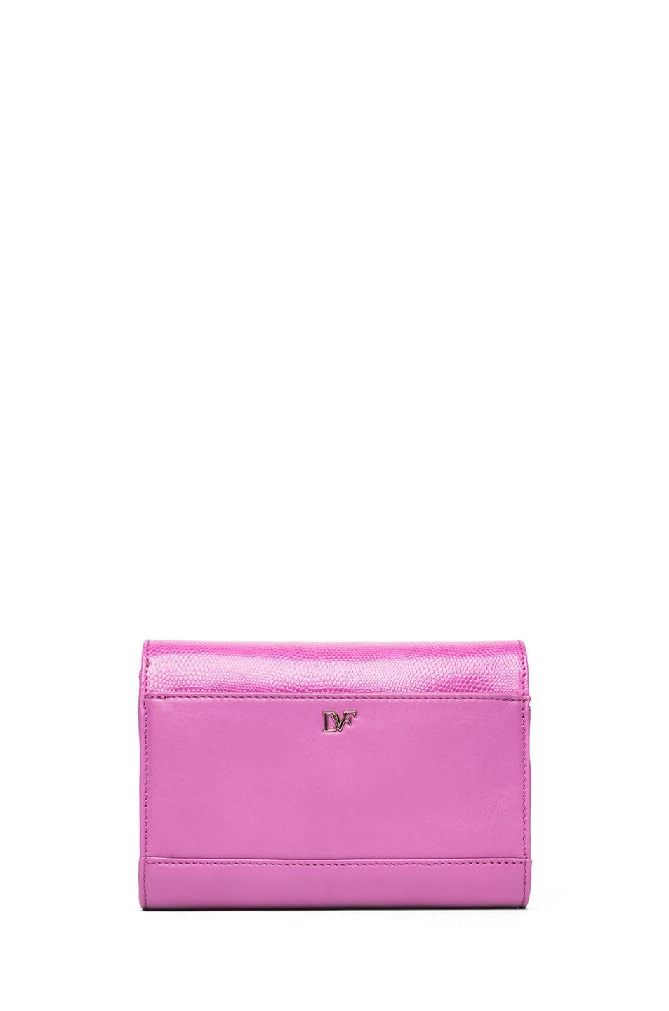 Image 2 of Diane von Furstenberg Mini Lips Embossed Lizard Leather Bag in Pink Fuchsia