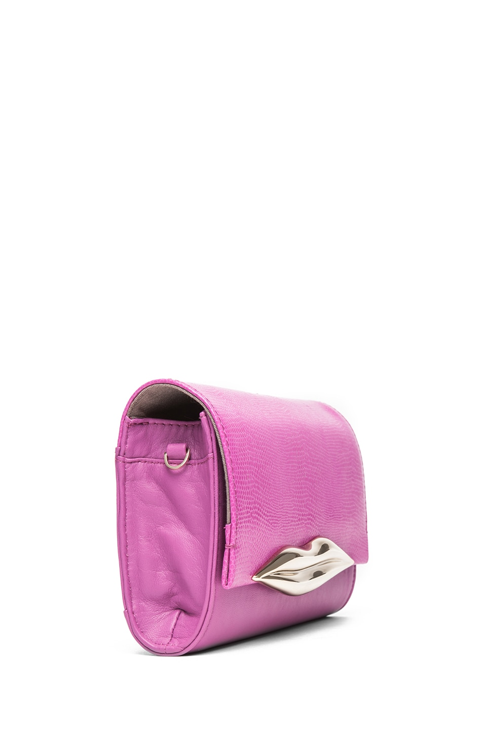 Image 3 of Diane von Furstenberg Mini Lips Embossed Lizard Leather Bag in Pink Fuchsia