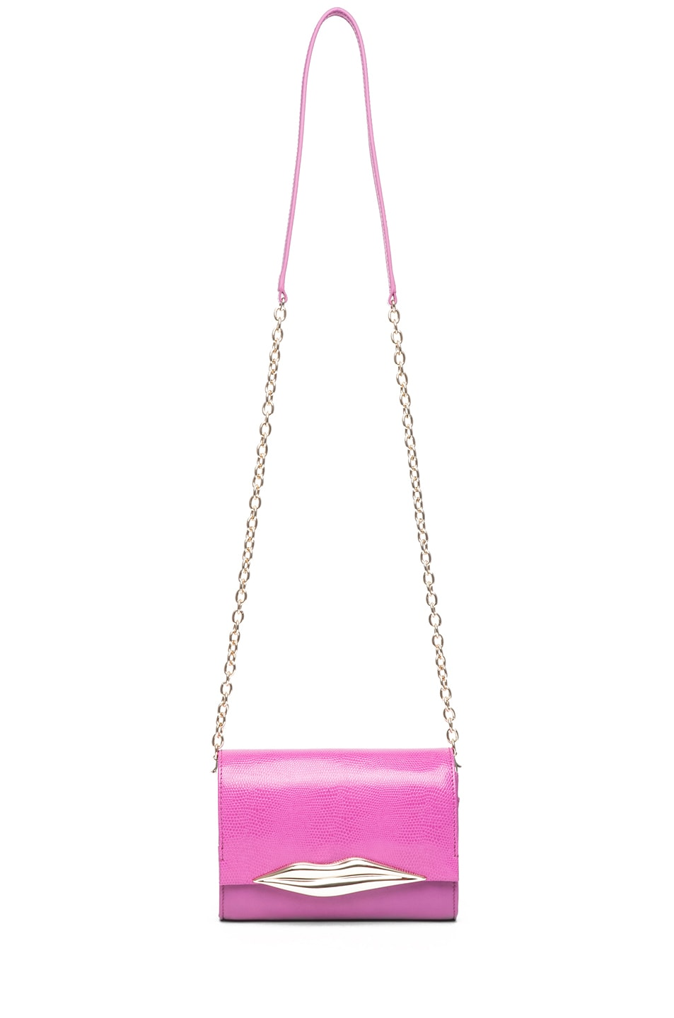 Image 5 of Diane von Furstenberg Mini Lips Embossed Lizard Leather Bag in Pink Fuchsia
