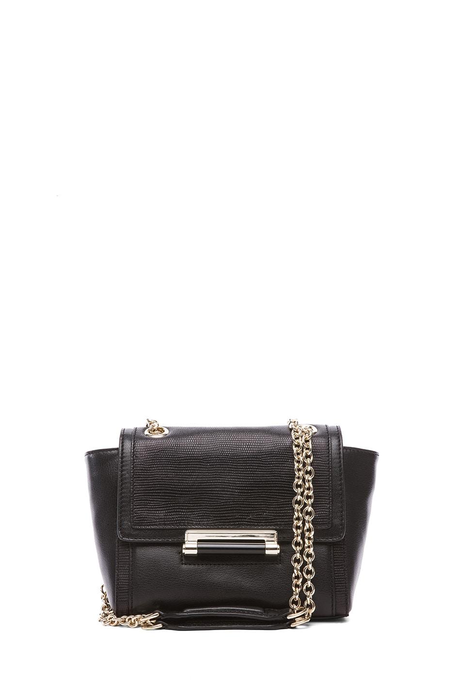 Image 1 of Diane von Furstenberg Mini Lips Embossed Lizard Leather Bag in Black