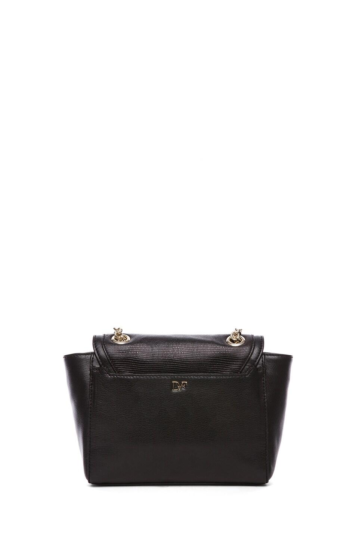 Image 2 of Diane von Furstenberg Mini Lips Embossed Lizard Leather Bag in Black